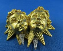 David Webb 18Kt YG, Platinum & Diamond Cherub Brooch