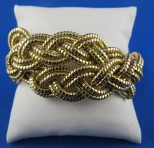 Retro 1940's 18Kt YG Gold Braided Bracelet
