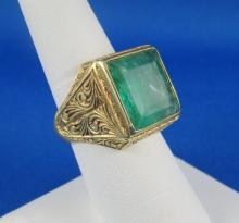 1950's Victorian Style 18Kt YG & Emerald Ring