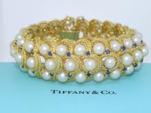 Tiffany & Co. 18Kt YG Pearl & Sapphire Bracelet
