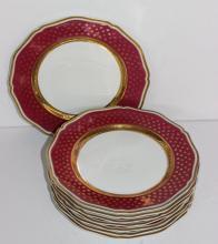 8 Pc. Limoges 'Malmaisan' Porcelain Luncheon Plates