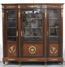 Antique French Empire Bronze Mounted 3-Door Curio Cabinet
