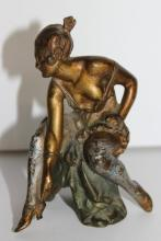 Vintage Erotic Bronze Woman Figurine