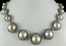 Platinum Pearl 8ct Diamond Bernice Necklace