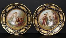 Pair of Royal Vienna Hand Painted Porcelain Plates