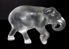 Lalique France Tusk Down Crystal Elephant