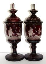 Pair of Bohemian Ruby Red Covered Vases