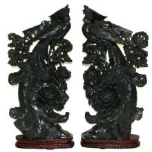 Palace Size Chinese Carved Spinach Jade Phoenix Birds