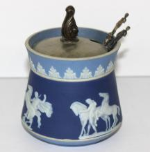 Wedgwood Dark Blue Jaspwerware Jelly Jar