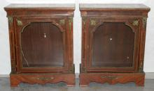 Pair of Antique French Bronze Mounted Inlaid Cabinets
