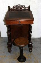 Antique Victorian Carved Tilt Top Desk & Stool