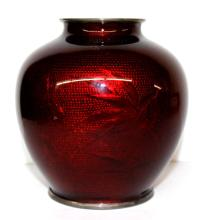 Chinese Dragon Blood Enamel Figural Vase