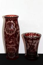 2 Pc. Antique Bohemian Red to Clear Ornate Vases