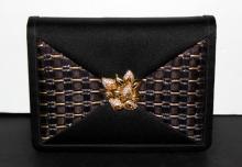 Finesse La Model Black Stain & Gold Brooch Evening Bag