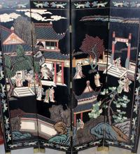 Chinese 4-Panel Lacquered Screen