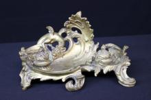 19th C. Rocaille Style Double Inkwell Bronze