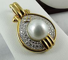 18Kt YG 1.25ct Diamond & Pearl Pendant