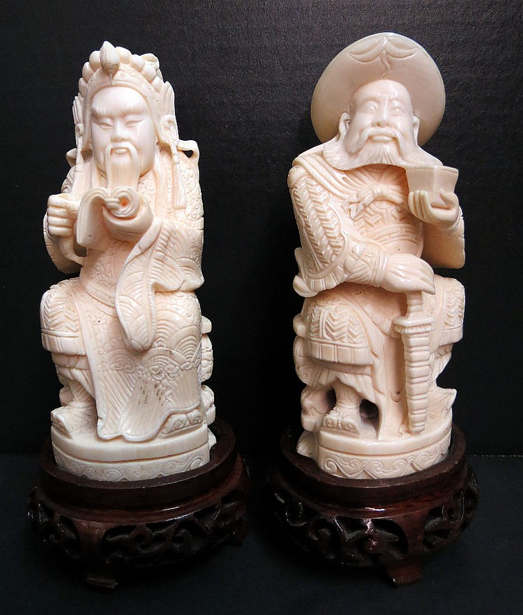Pair of Chinese Hand Carved Ivory Figures