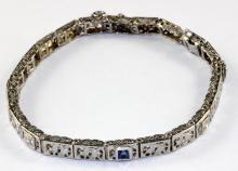 Art Deco 14Kt WG, Diamond & Sapphire Bracelet