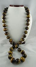 Large Tiger-Eye Beaded Necklace
