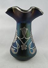 19th Century Loetz & Silver Overlay Vase with Iridescent Glass