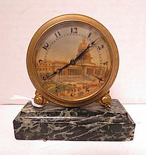 Antique Swiss Made Hand Painted Desk Clock