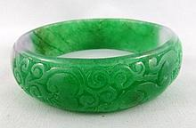 Chinese Flower Green Jade Bangle