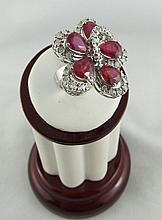 14Kt WG 6.55ct Ruby & 1.45ct Diamond Ring