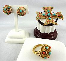 Trifari Turquoise & Coral Etruscan Jewelry Set