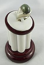 14Kt WG Men's Cabochon Moonstone Ring