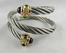 14Kt YG & Stainless Cable Bracelet with Hardstones