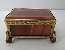 Antique Gilt Metal Mounted Agate Box