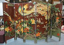 6 Panel Chinese Cloisonne Figural Screen