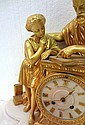 Antique French Dore Bronze & Marble Figural Clock Mancah Rhodes Bradford
