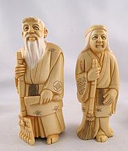 Pair of Chinese Hand Carved Polychrome Ivory Figures