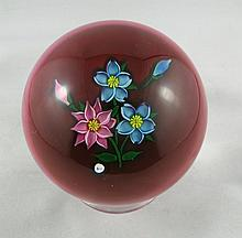 STK Floral Art Glass Design Crystal Paperweight