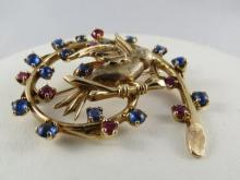 14Kt YG Sapphire & Ruby Bird Pin