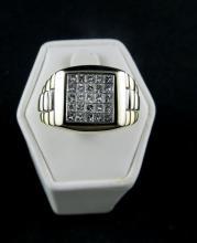 14Kt 2 Tone 1.25ct Diamond Men's Ring