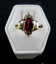14Kt YG Ruby & Diamond Ring