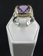 David Yurman Sterling Silver & Gold & Diamond Ring