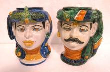Pair of Porcelain Hand Painted Majolica Vases