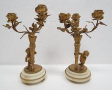 Pair of Dore Bronze & Marble Candelabras