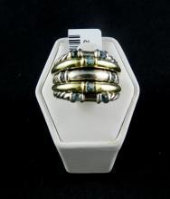 David Yurman Sterling Silver & Gold & Blue Topaz Ring