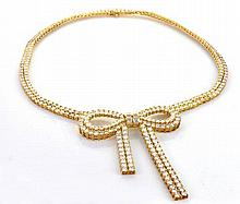 18Kt YG & 44.00ct Diamond Bow Necklace