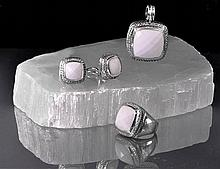 Contemporary Sterling Silver, Diamond & Agate Suite by David Yurman
