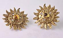 Pair of Contemporary Diamond & Citrine Sunburst Earrings by Aletto & Co.