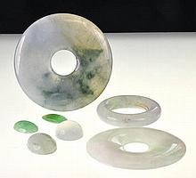 Collection of 7 Carved Jadeite Jade Pendants