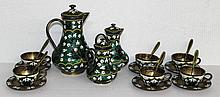 21 Pc. Russian 916 silver  Enameled Tea Set
