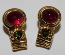 18Kt YG 13.32ct Tourmaline Earrings