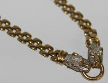 14Kt YG Panther Necklace